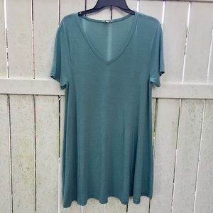 Umgee Teal Basic Vneck Dress